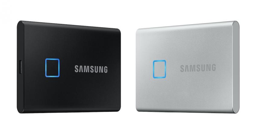 """""""Samsung"""" pristatė """"SSD T7 Touch"""" nešiojamą duomenų kaupiklį su pirštų atspaudų skaitytuvu"""