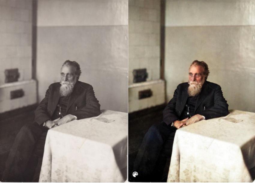 """Pirmą kartą išvyskite spalvotus J. Basanavičių ir Žemaitę: paprastas būdas """"nuspalvinti"""" juodai baltas nuotraukas"""